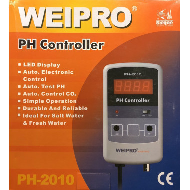 PH Meter and controller Weipro PH2010. Ideal for Calcium reactor. UK plug and UK guarantee.