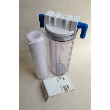 "In-line aquarium water filter with 1/2"" ports with 16mm hose tail."