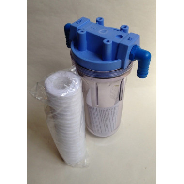 "In-line aquarium water filter with 3/4"" ports with 19mm hose tail."