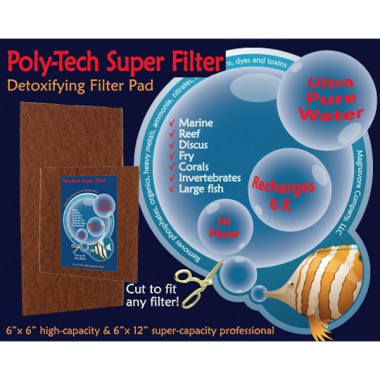 POLY-TECH Super Filter pads 6x6. For fresh water aquariums