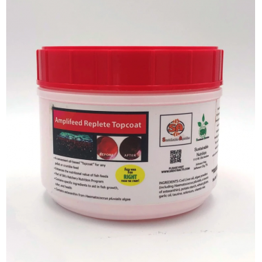 Amplifeed™ Top Coat. Ideal for any milled fish feeds or Pellets 100g